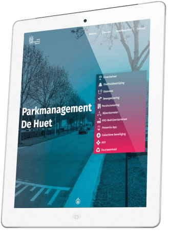 Parkmanagement  De Huet  website op iPad