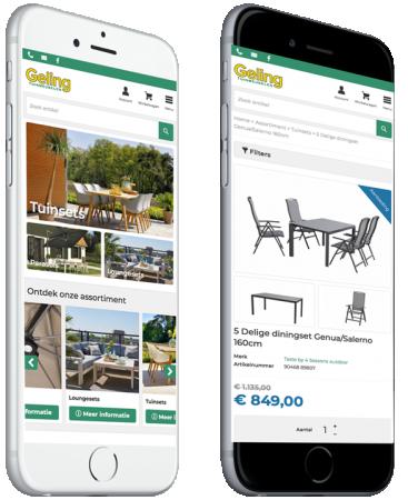 Geling tuinmeubelen webshop op een iPhone