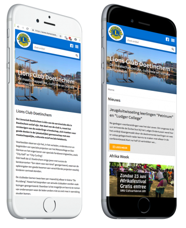 Lions Club Doetinchem responsive website op een iPhone